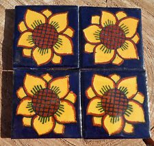 "36~Talavera Mexican 2"" tile pottery hand painted Cobalt Sunflower Yellow FLOWER"