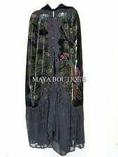 Cloak Opera Cape Peacock Victorian Style Beaded Velvet Lace Lined Black Maya