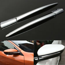 Rearview Door Mirror ABS Pillar Silver Strip Cover Trim For Honda Civic 2016 17
