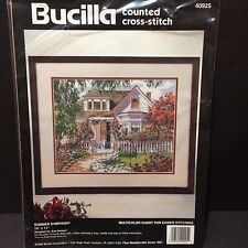 NIP Bucilla Counted Cross Stitch Kit 40925 Summer Symphony Country Garden Home
