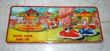 """VINTAGE PAGE LONDON TIN LITHOGRAPH PAINT BOX """"FUN FAIR"""" NEVER USED 48 COLORS"""