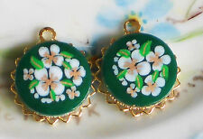Vintage Charms Connectors Flowers Green Flower Japan Gold Plated NOS #1239F
