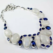 """Fire White Rainbow Moonstone Opal 925 Sterling Silver 18"""" Necklace #H00038"""