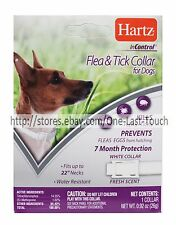 """HARTZ* InControl FLEA & TICK COLLAR 7 Months FOR DOGS Up To 22"""" Neck WHITE Fresh"""
