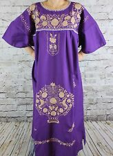 4XL Purple Peasant Tunic Boho Hippie Hand Embroidered Mexican Dress Tunic