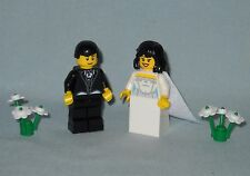 NEW LEGO WEDDING BLACK HAIR BRIDE WITH TRAIN AND GROOM MINIFIGURES FOR CAKE