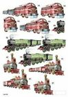 A4 Die-Cut Decoupage Shiny Trains men dad male brother Birthday Cards Toppers