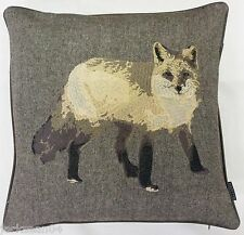 "FOX WOOL FAUX LEATHER 18"" THICK BEIGE CREAM EMBROIDERED CUSHION COVER *RV*"