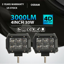 2x 4INCH 30W OSRAM LED Work Light Bar Spot Offroad Fog Lamp Pickup ATV Truck 54W