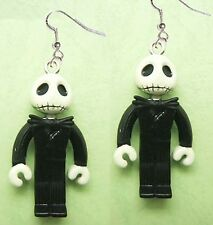 Funky Zombie JACK SKELLINGTON EARRINGS-Gothic Mini Figures Charm Costume Jewelry