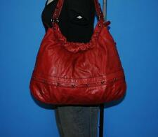 PERLINA NY Red Distressed Leather Hobo Tote Shoulder Carryall Shopper Bag Purse