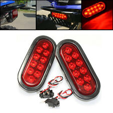 "2x RED 6"" Oval LED 10 Diode Tail  Stop Light w/grommet & plug Truck Trailer RV"