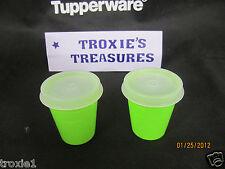 Tupperware Midgets Lot Of 2 Lime Green Sheer Seals Gadgets Pills Mints New