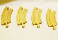 """Thomas The Train/Brio Wood 4 1/3"""" Curved Piece Track Wood-Set of 4-Reversable"""