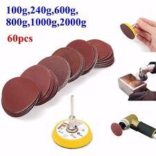 60pcs Disque Ponçage Abrasif Papier + 50mm Boucle Sablage + 3mm Shank Pr Dremel