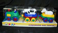 Traktor mit Anhänger und Tieren Bauer Kuh und Perd SCHWUNGRAD  Fahrzeug BA-199