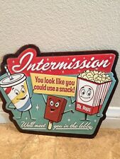 Intermission Snacks Lobby Tin Sign 14x11 Movie Theater Drive In Garage Mancave