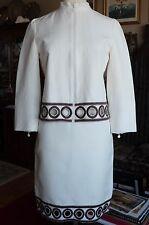Akris Punto jacket coat skirt suit dress, $2695, sz 6, cut out embroidery