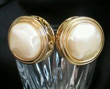 Vintage Valentino? Vc Pearl Earrings Chunky clip on  Goldtone designer button EC