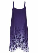 Pleated lined Midnight blue gradient floral Flowing evening party dress size 16