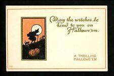 Halloween postcard Unknown 133-7 Witch black cat JOL fantasy gold trim Vintage
