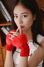 Autumn and winter knitting yarn / wrist / hair dew refers / touch short gloves