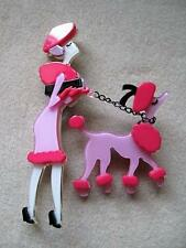 Fab Deco Inspired Pink & Black Lucite? French Lady & Poodle Brooch