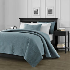 Pinsonic Quilted Austin Oversize Bedspread Coverlet  3-piece Queen Set, Blue