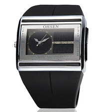 OHSEN LCD Light Face analog digital Time Black Silicone Mens Wrist band Watch
