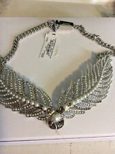 $295 Givenchy Imitation Pearl And Crystal Feathery Wing Drama Necklace GV 222