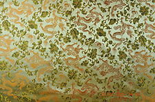 "Chinese brocade (silk blend), 28"", little dragons, gold, per meter"