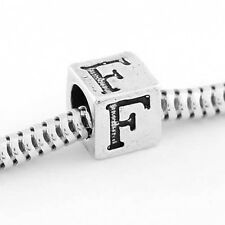 STERLING SILVER CUBE BLOCK INITIAL LETTER F BEAD