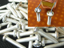 10x silver plated solderable Bronze Screws = XL Solder Terminal Turret, 17mm, M3