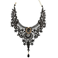 Artistic Black Lace Alloy Waterdrop Pendant Statement Bib Choker Party Necklace