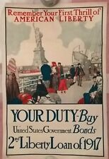 ORIGINAL 1917 -US GOVERNMENT BONDS  WAR POSTER, 30X 20.PUBLISHED IN USA