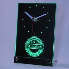 Heineken Birra LED 3D Tavolo Orologio Pubblicità illuminata pubblicità Annuncio