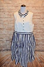 Modcloth Halcyon to a Good Thing Shirt Dress NWOT 2X collar nautical blue white