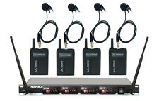 VocoPro NuVoice UL580 UHF 4 Channel Wireless Lavalier Lapel Microphone System