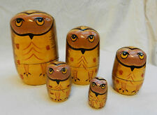 Owl / Owls- Hand Painted Russian Doll Set - 5 Dolls - BNWT