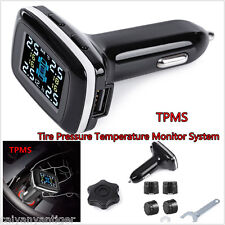 Car Cigarette Lighter TPMS Tire Pressure Temperature Monitor System+4 Sensors