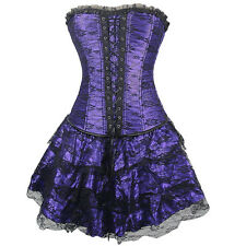 Steampunk Clothing Strapless Floral Embroidery Goth Corset Bustier Basque Dress
