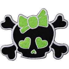 Black Girl Skull Green Bow Heart Embroidered Iron Sew On Patch T Shirt Bag Badge