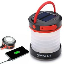 ThorFire Camping Solar LED Lantern USB Rechargeable Collapsible Light Power Bank