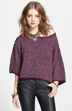 NWT $108 FREE PEOPLE 'Under Your Spell' oversized pullover sweater (S) Eggplant
