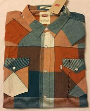 LEVI'S Snap Button Western Flannel Standard Fit Shirt - Men's Large L NWT $45