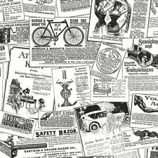 Vintage Newspaper Ads in Black & White Wallpaper BK32083 Double Roll