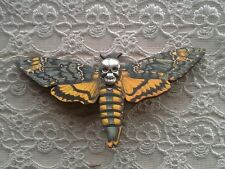 DEATH HEAD MOTH SKULL LASER CUT WOOD WOODEN BROOCH PIN BADGE