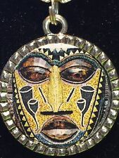 "BIN Tribal Indian African Mask Olive Charm Tibetan Silver 18"" Necklace AM14"