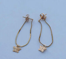 Ladies Dainty Butterfly Post Earrings w/ Serpentine Chain - 14k Yellow Gold