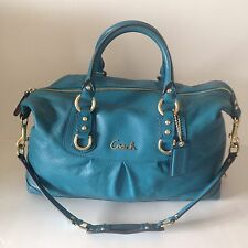 Coach Ashley Large Leather  Blue Satchel Handbag Purse Bag Extremely Rare F15447